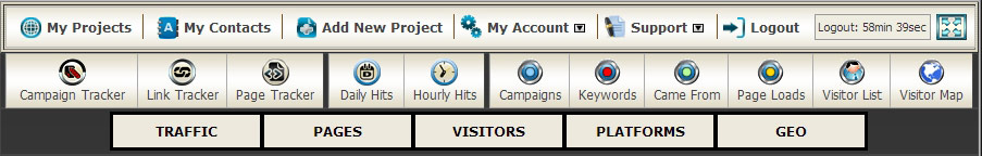 website stats menu